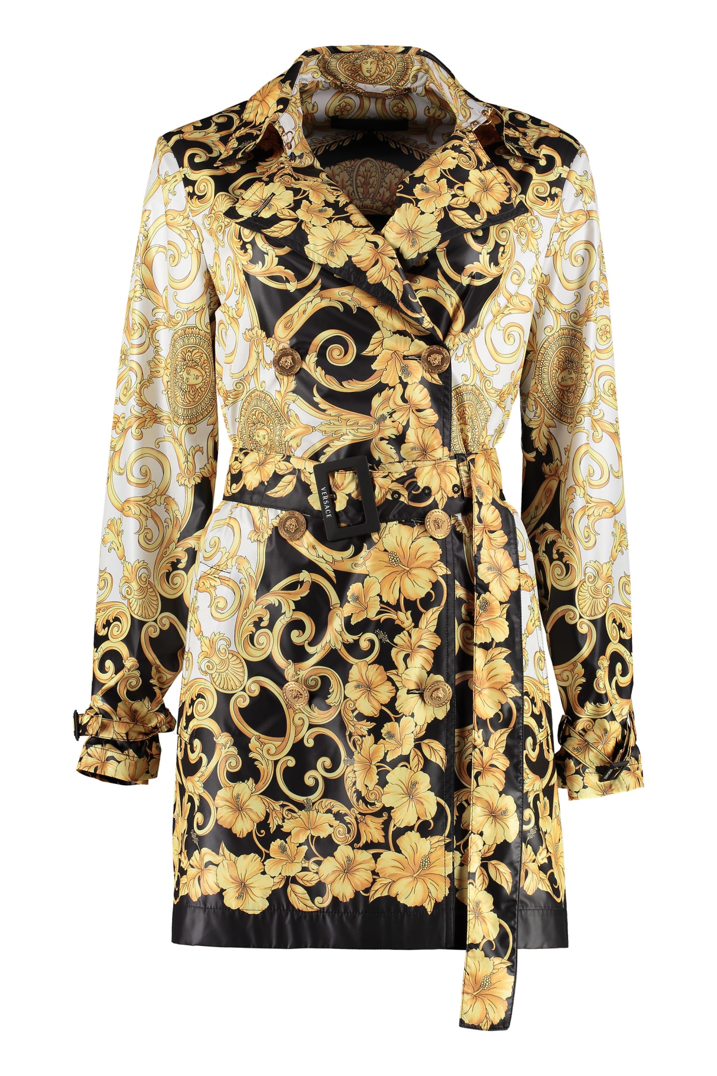 Photo of  Versace Printed Techno Nylon Trench Coat- shop Versace jackets online sales