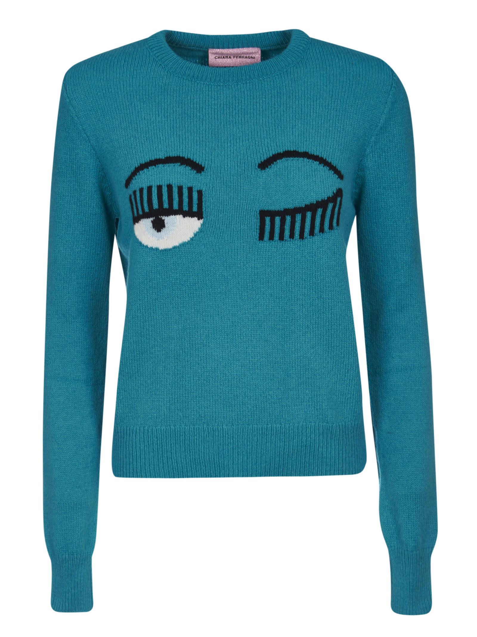 Chiara Ferragni Flirting Knit Crewneck Sweater