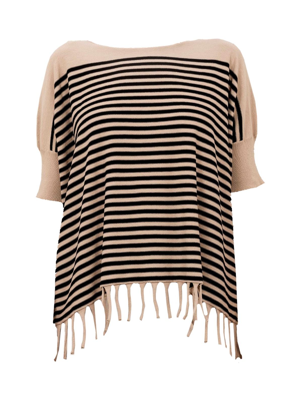 Fringed Stripes Crew Neck S/s Sweater W/fringes