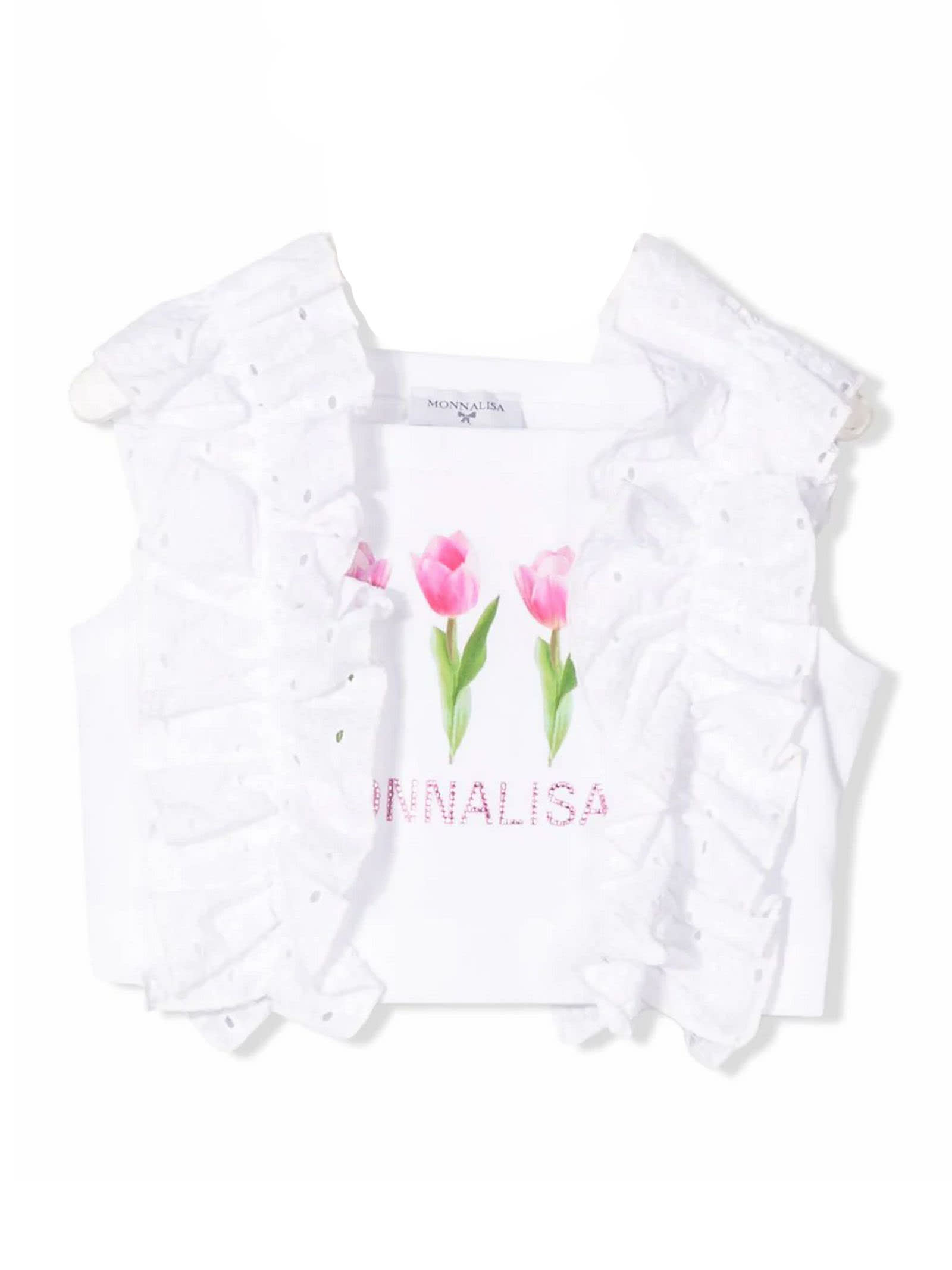White Stretch Cotton Cropped Top