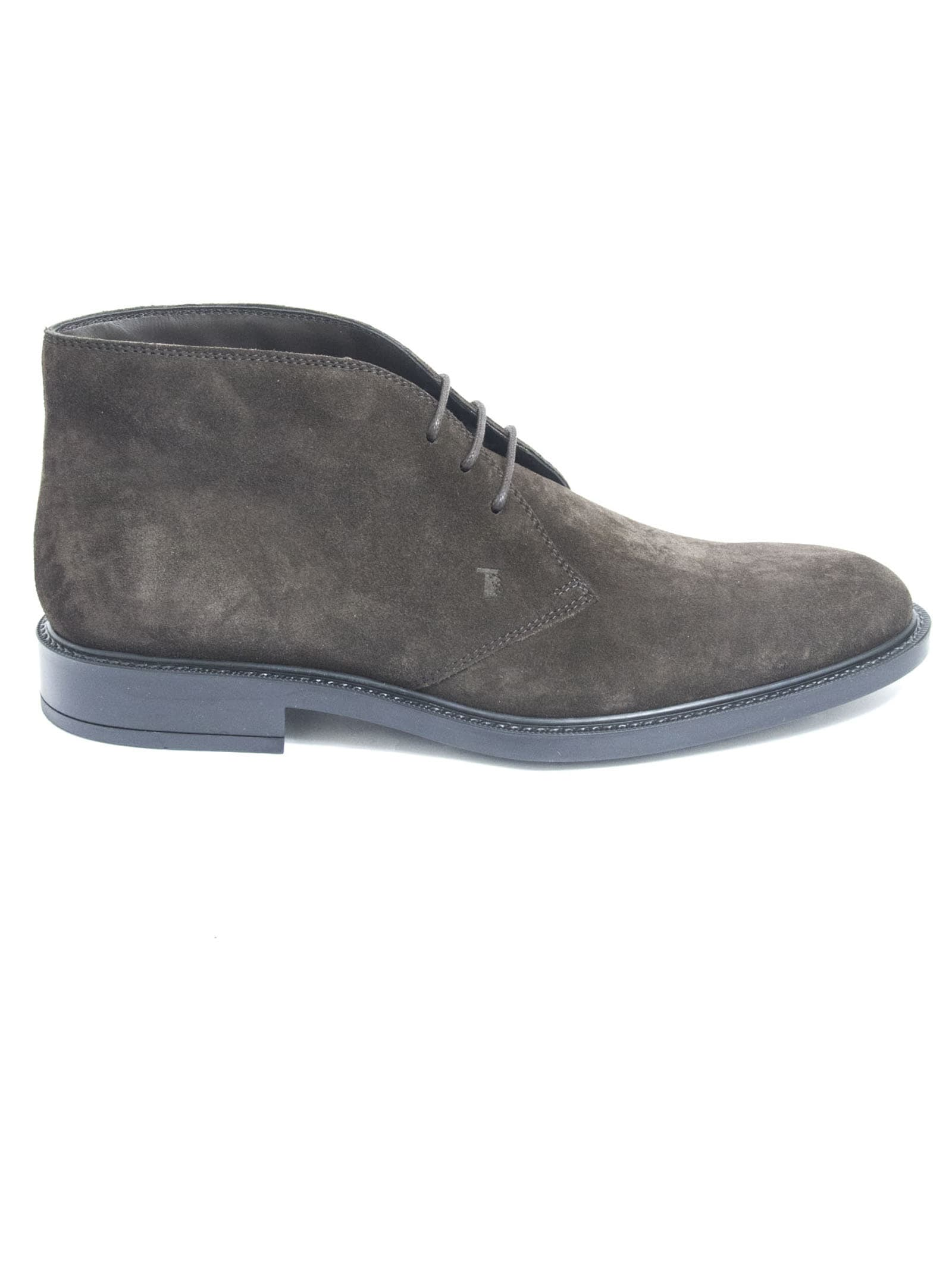 Tods Short Ankle Boots In Brown Suede