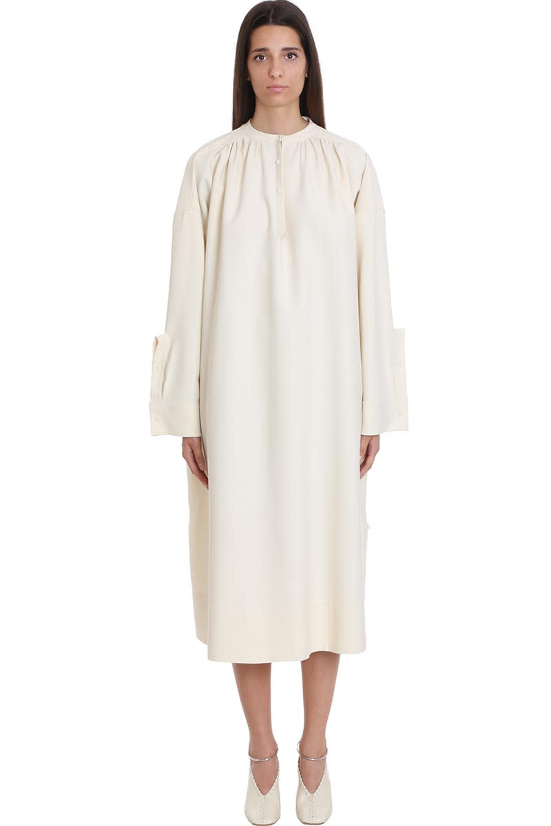 Jil Sander Louise Dress In Beige Wool