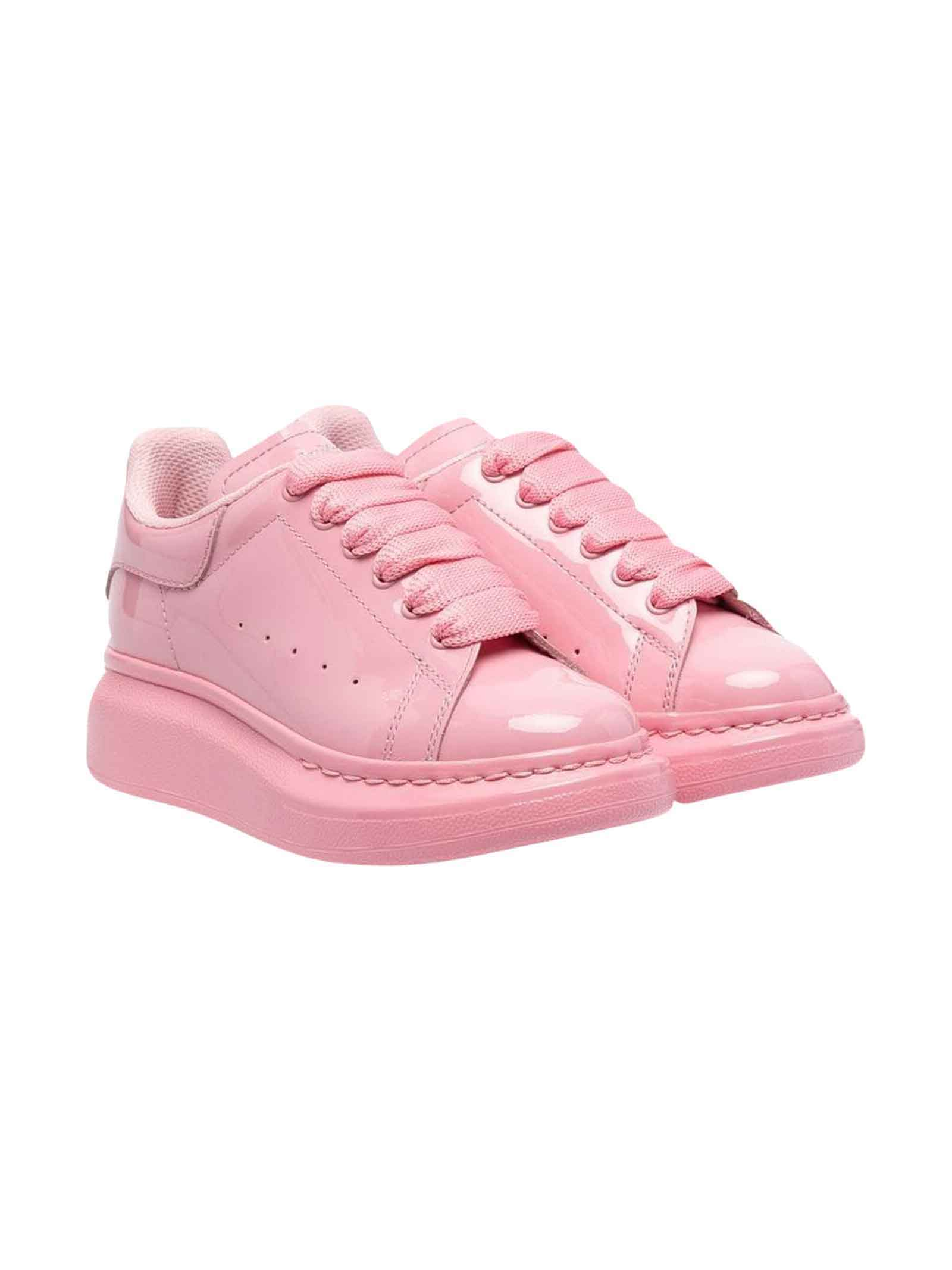 Alexander McQueen Pink Sneakers With Round Tip, Logo Embroidery And Laces Kids