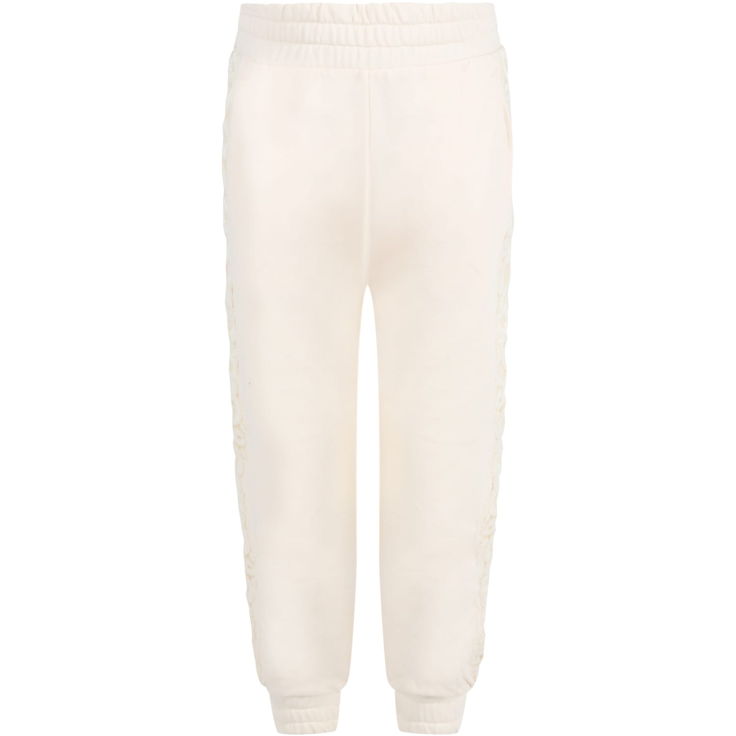 Ermanno Scervino Junior Pink Sweatpants For Girl With Logo Patch