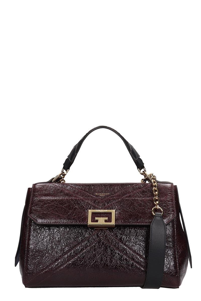 Givenchy I D Medium Bag Hand Bag In Bordeaux Leather