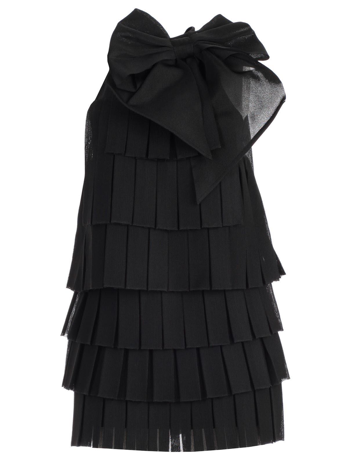 Balmain Dress W & s Bow Embellished Pleated