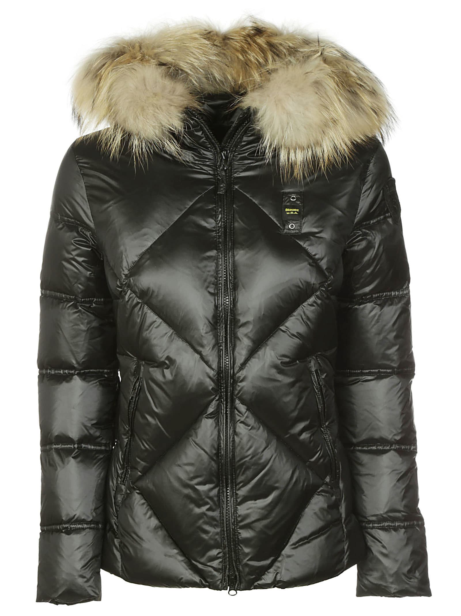 Blauer Furred Hood Quilted Jacket