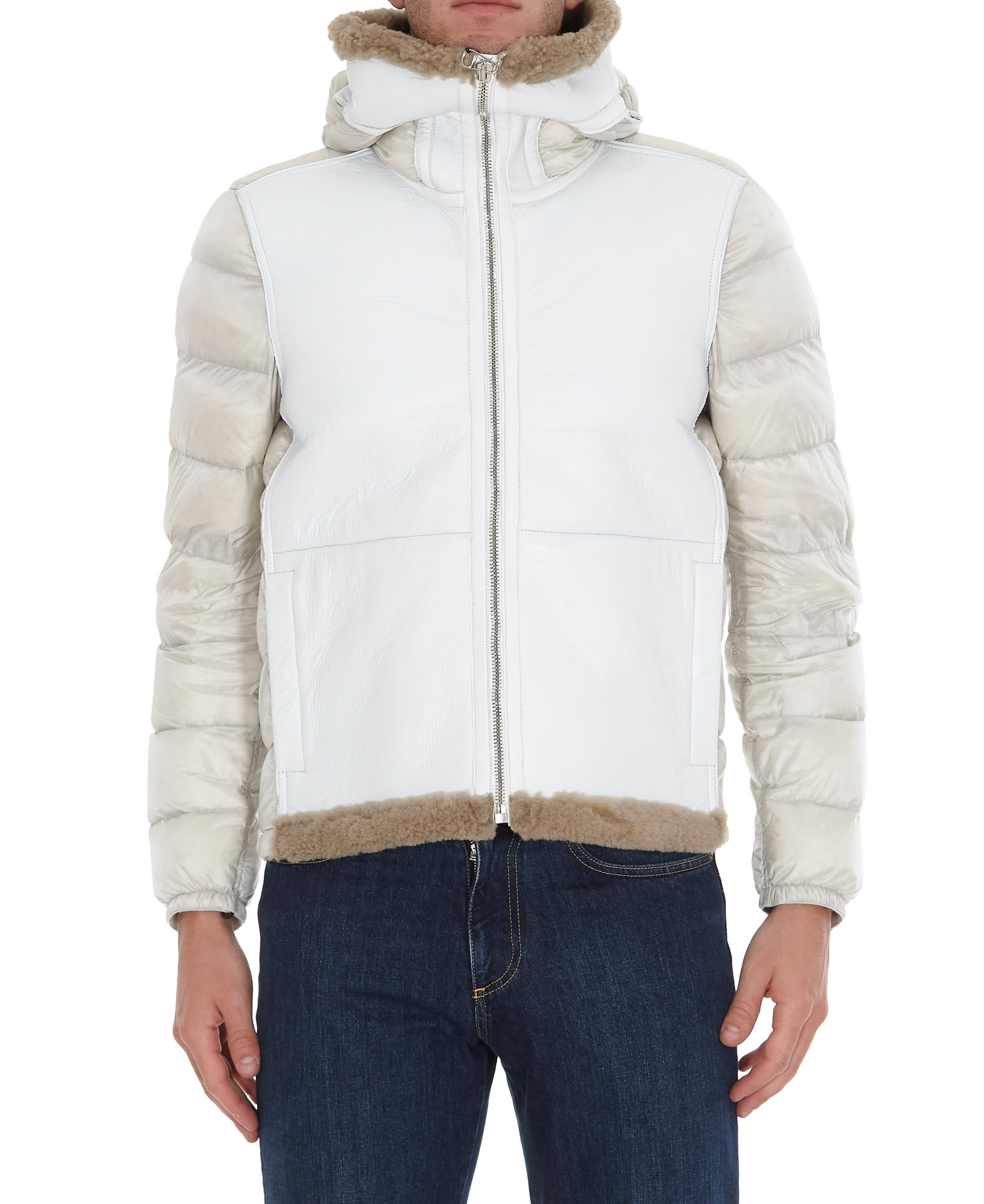 man down jacket, padded, shearling detailsComposition: 100% Real Shearling