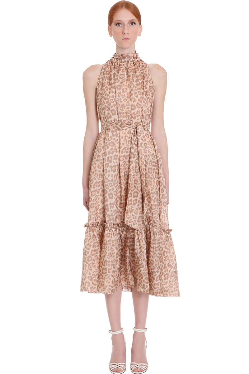 Buy Zimmermann Kirra Tie Shoul Dress In Animalier Silk online, shop Zimmermann with free shipping