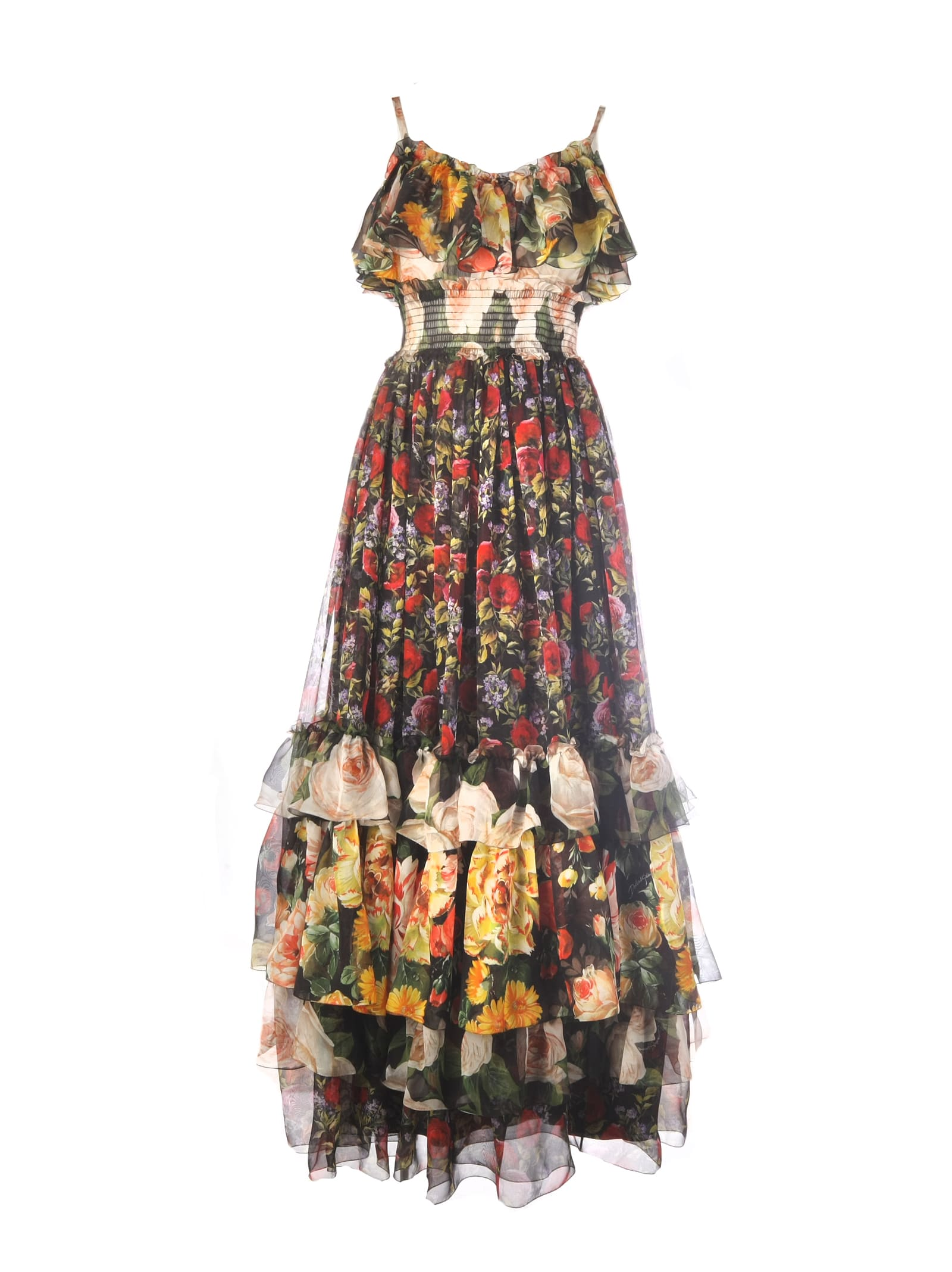 Buy Dolce & Gabbana Flower Mesh Print Dress online, shop Dolce & Gabbana with free shipping