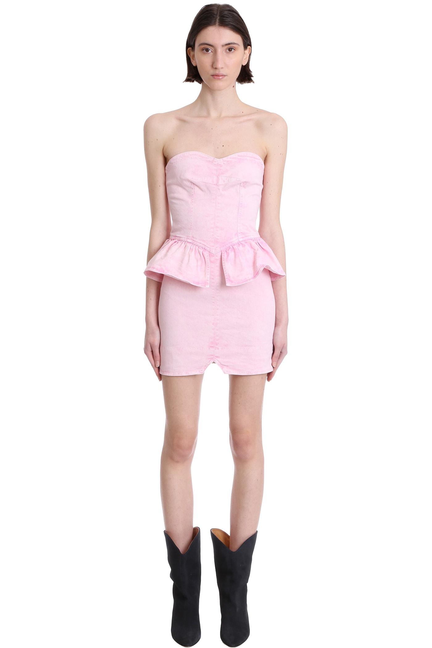 Isabel Marant Cottons DOLIZI DRESS IN ROSE-PINK DENIM