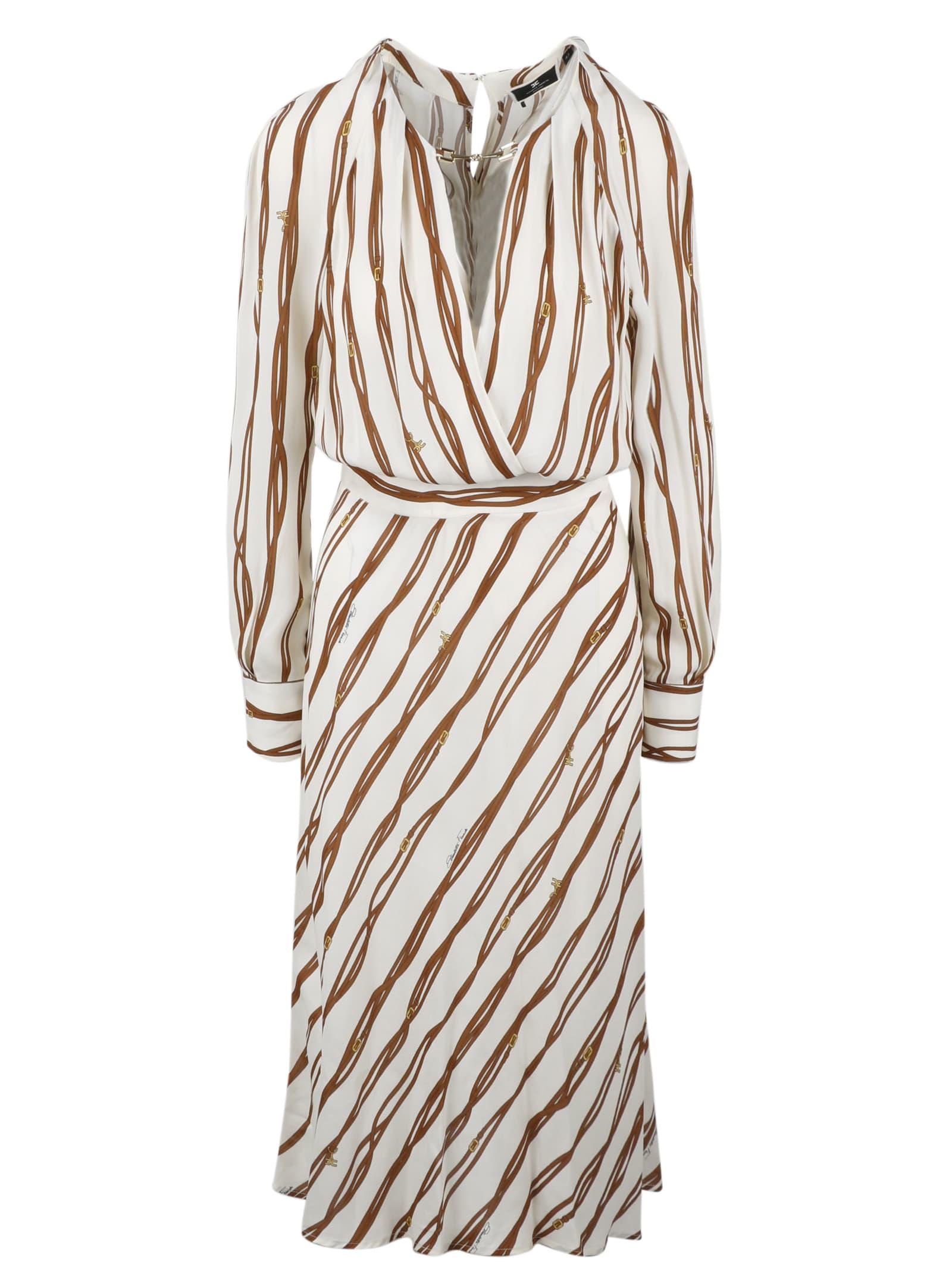 Elisabetta Franchi Belt Print Midi Dress