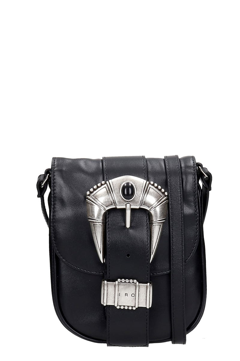 Iro Leathers HAMADA SHOULDER BAG IN BLACK LEATHER