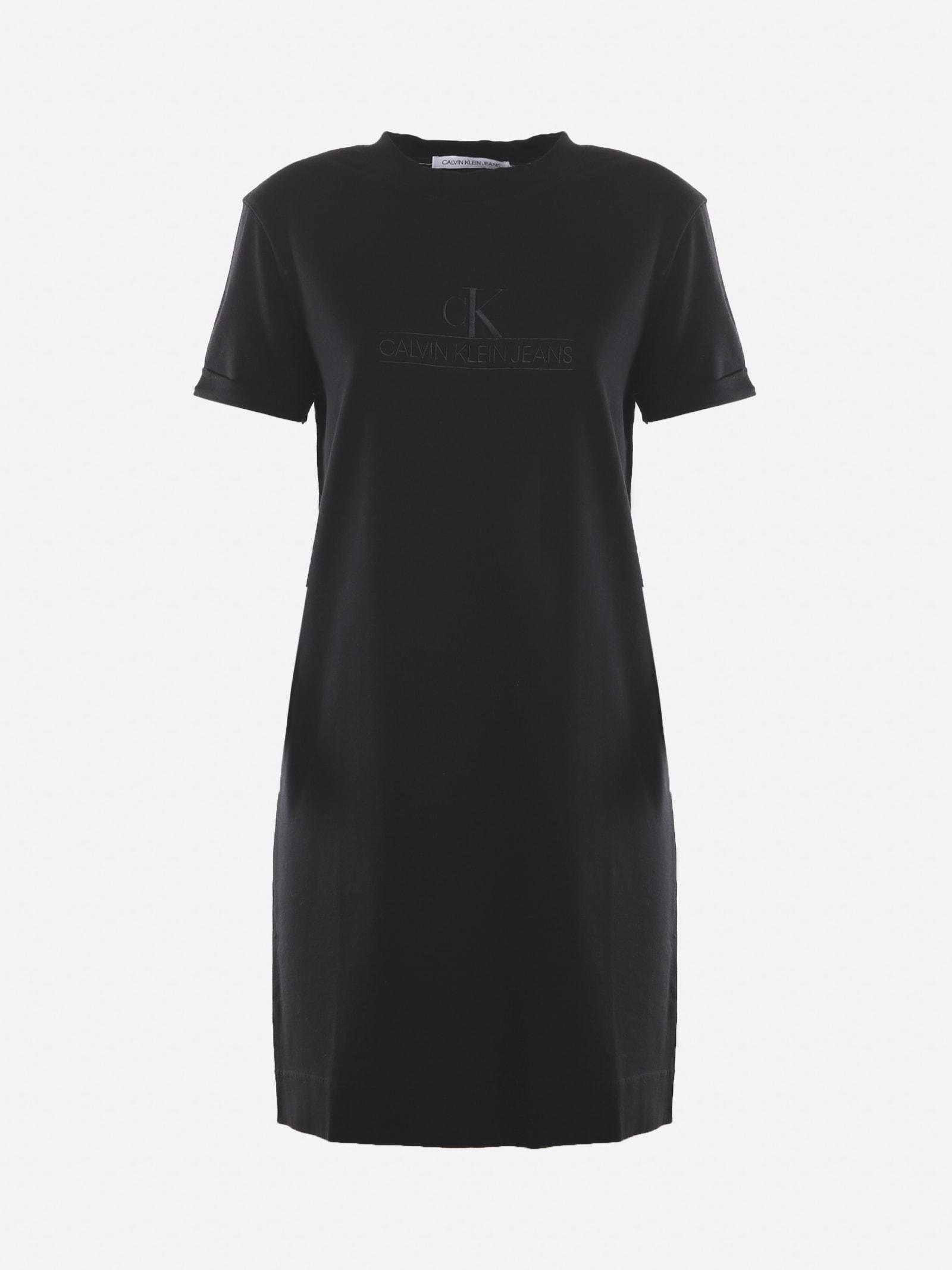 Calvin Klein Jeans Organic Cotton Dress With Tone-on-tone Logo Print