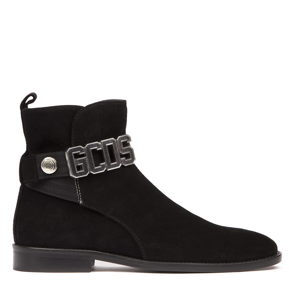 GCDS Black Suede Logo Ankle Boots