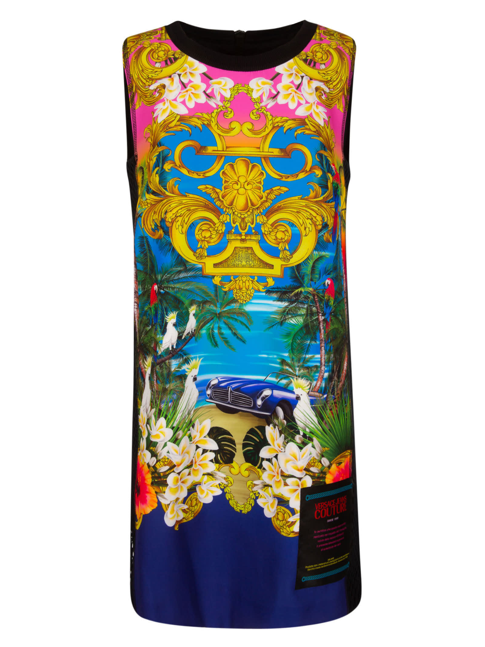 Buy Versace Jeans Couture Gallinella St. Jungle Baroque Dress online, shop Versace Jeans Couture with free shipping