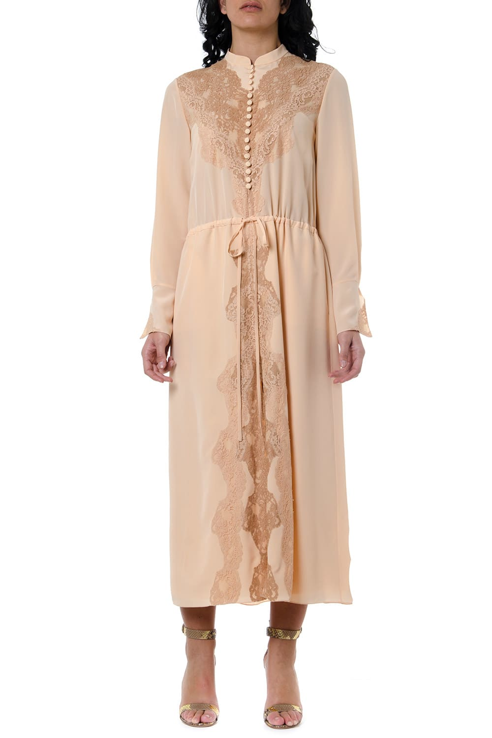 Buy Chloé Delicate Pink Lace-trimmed Silk Dress online, shop Chloé with free shipping