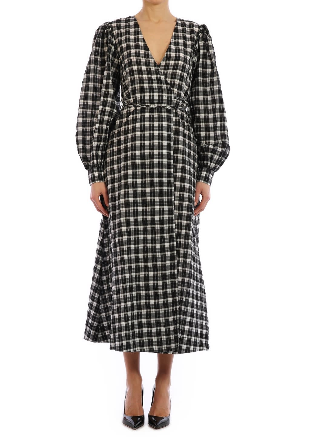 Buy Ganni Long Checked Dress online, shop Ganni with free shipping
