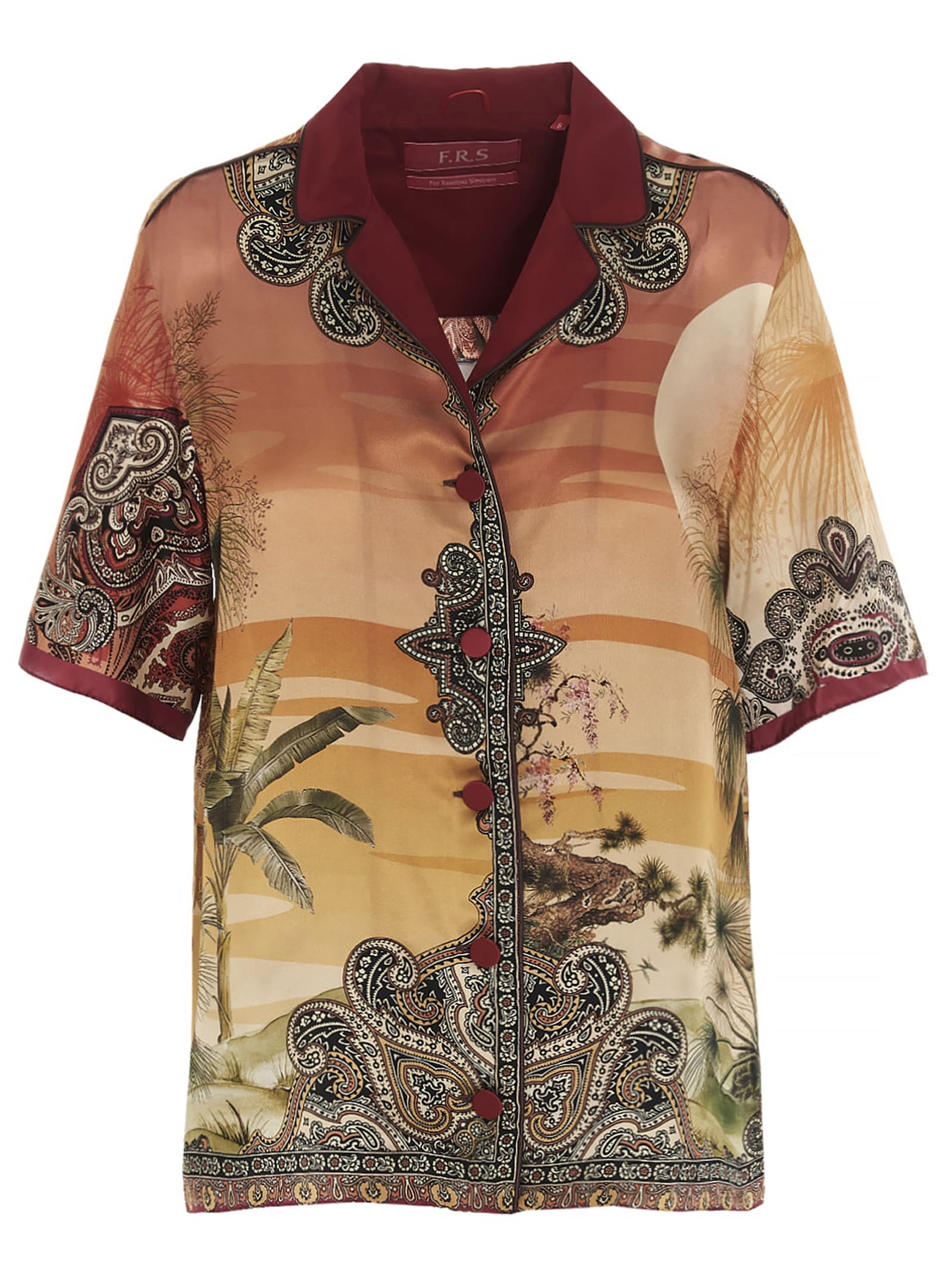 F.r.s For Restless Sleepers Silks JAGUAR IN THE OASIS SHIRT