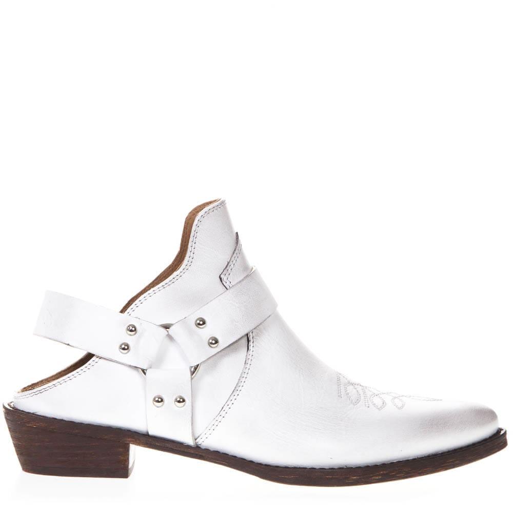 White Leather Vintage Texan Mule