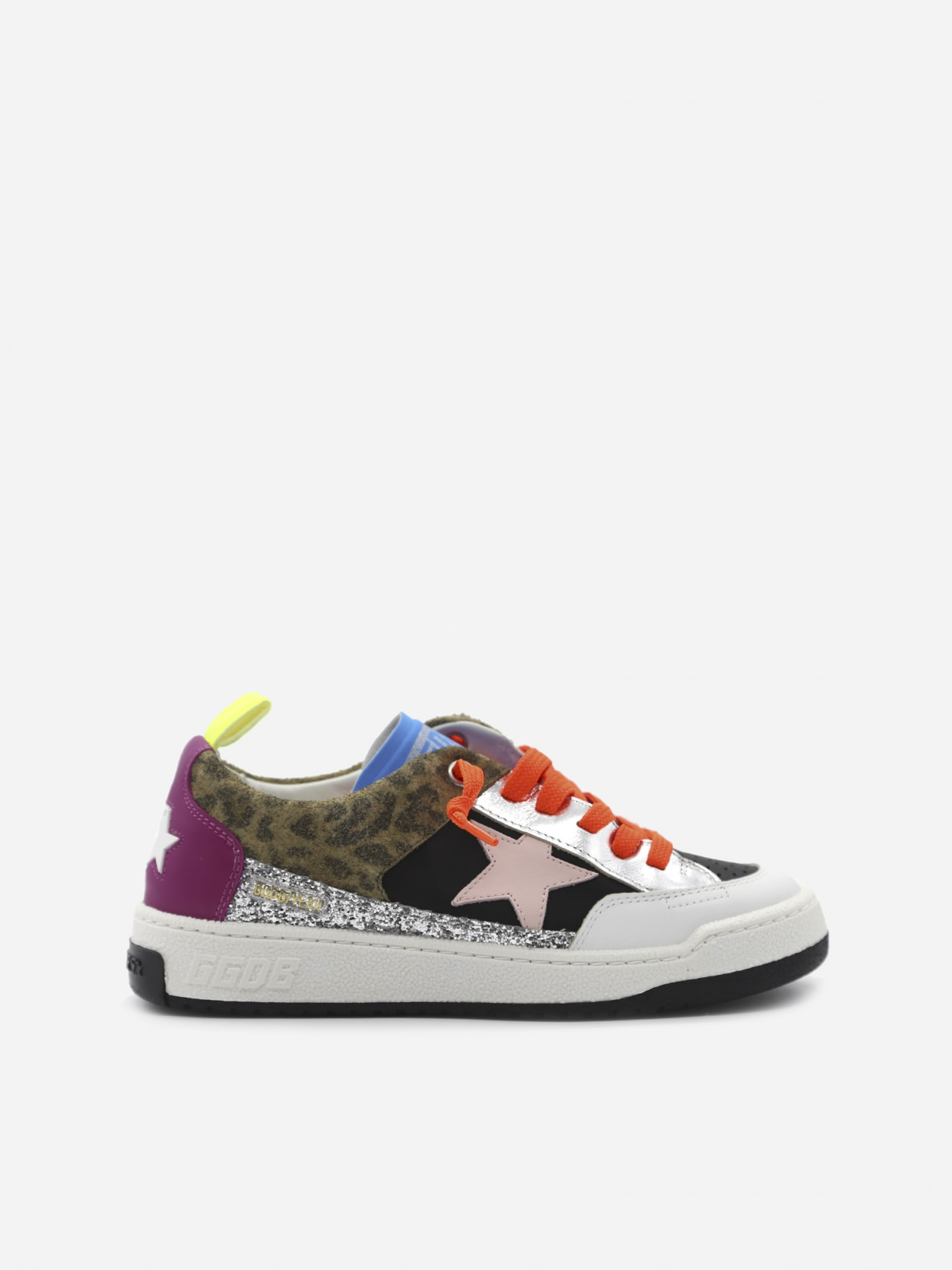 Golden Goose Yeah Sneakers In Leather With Glitter And Animalier Inserts