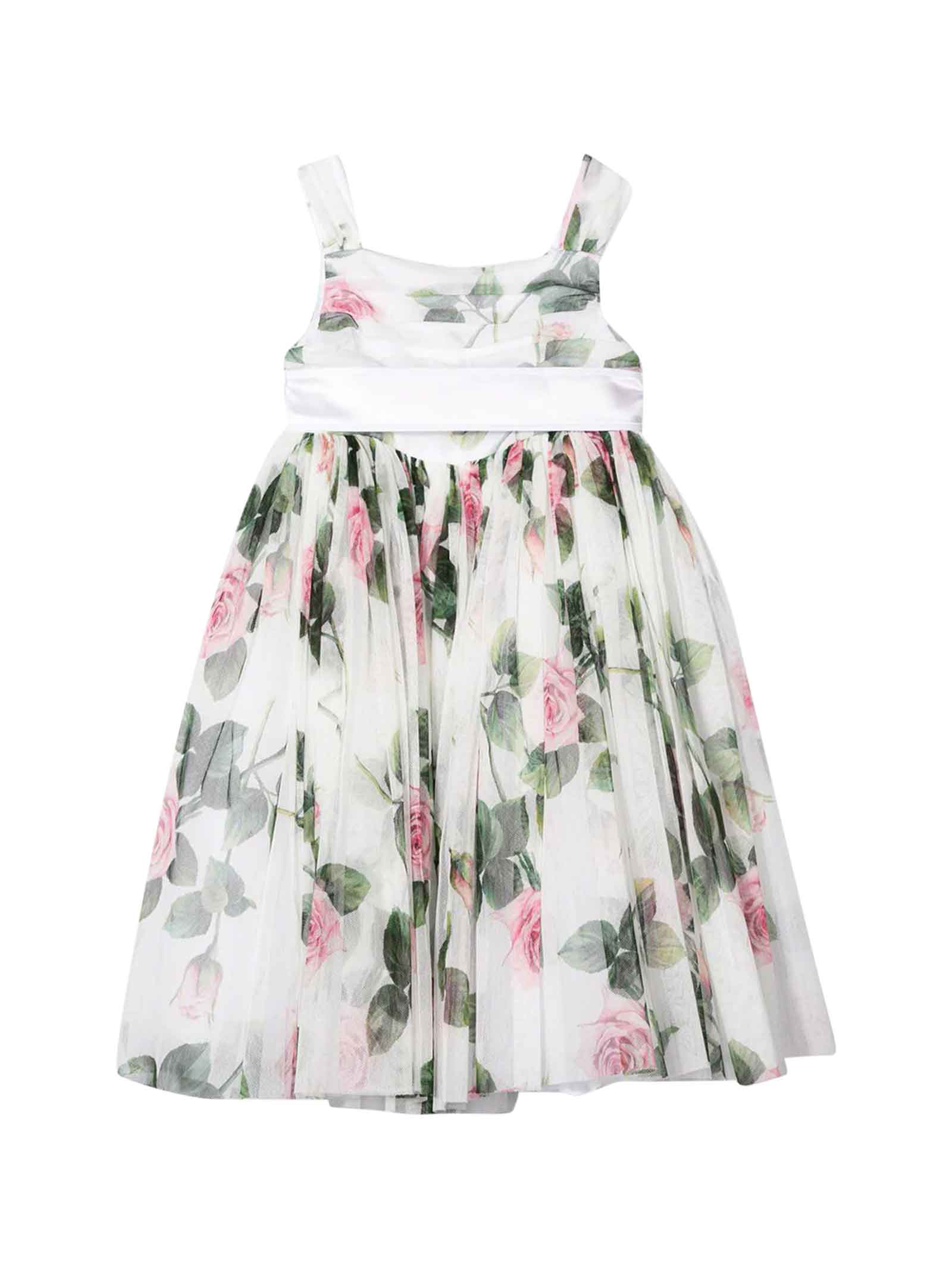 Buy Dolce & Gabbana White Dress With Floral Print online, shop Dolce & Gabbana with free shipping