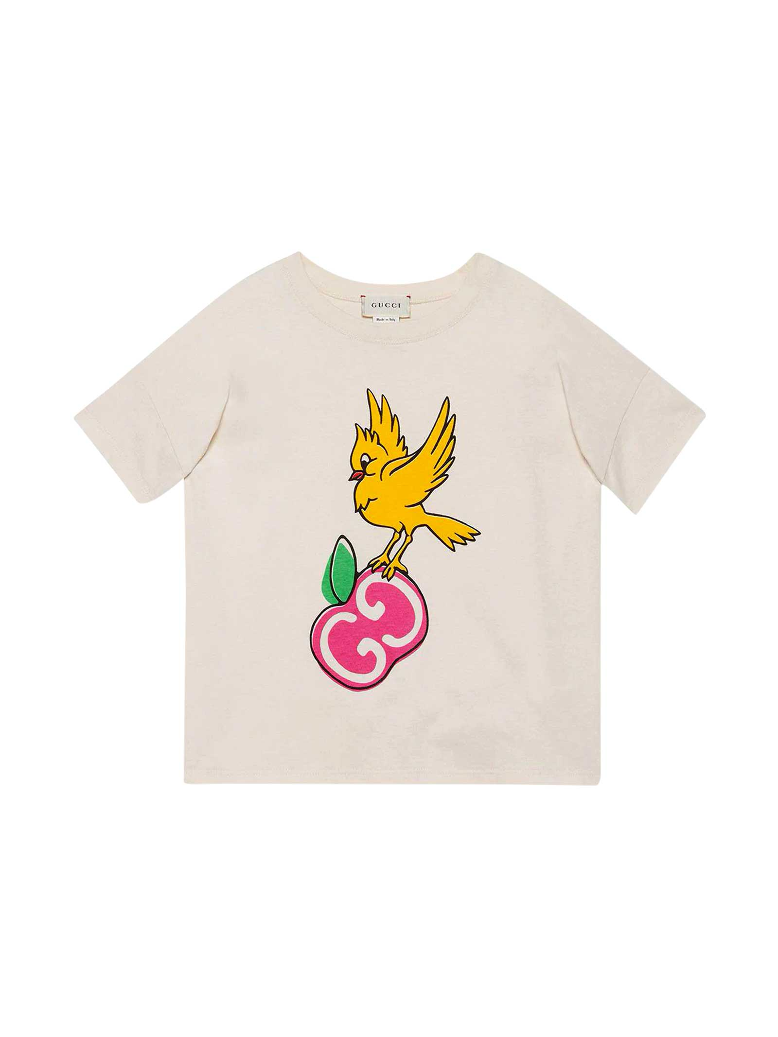 Gucci Cottons WHITE T-SHIRT WITH FRONTAL PRINT