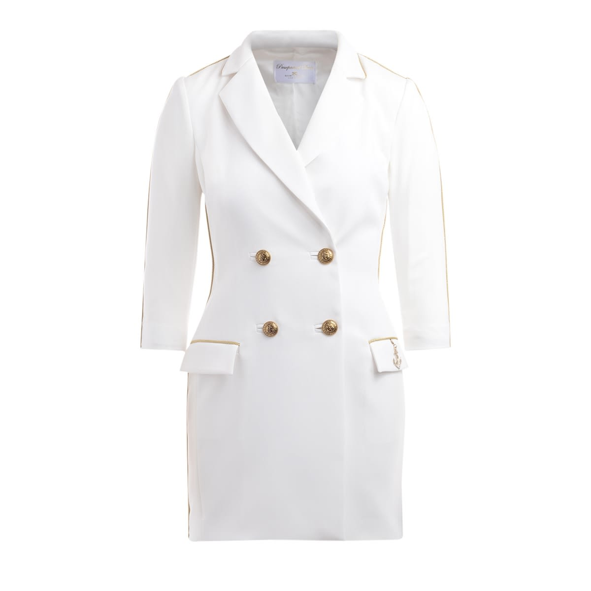 Buy Double-breasted Dress By Elisabetta Franchi In Ivory Crepe online, shop Elisabetta Franchi Celyn B. with free shipping