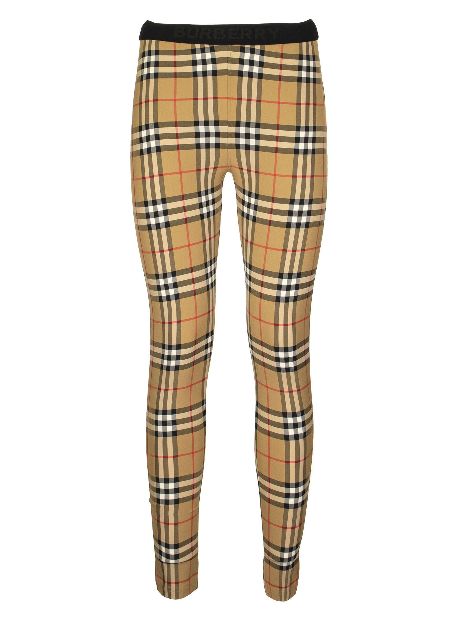 BURBERRY BELVOIR LOGO DETAIL VINTAGE CHECK LEGGINGS