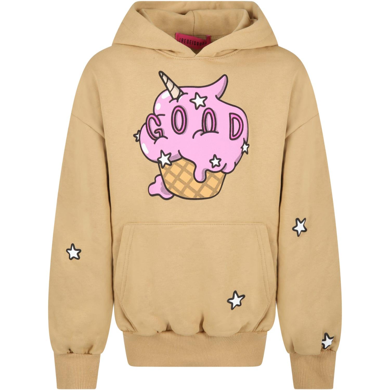 Beige Sweatshirt For Girl With Ice Cream