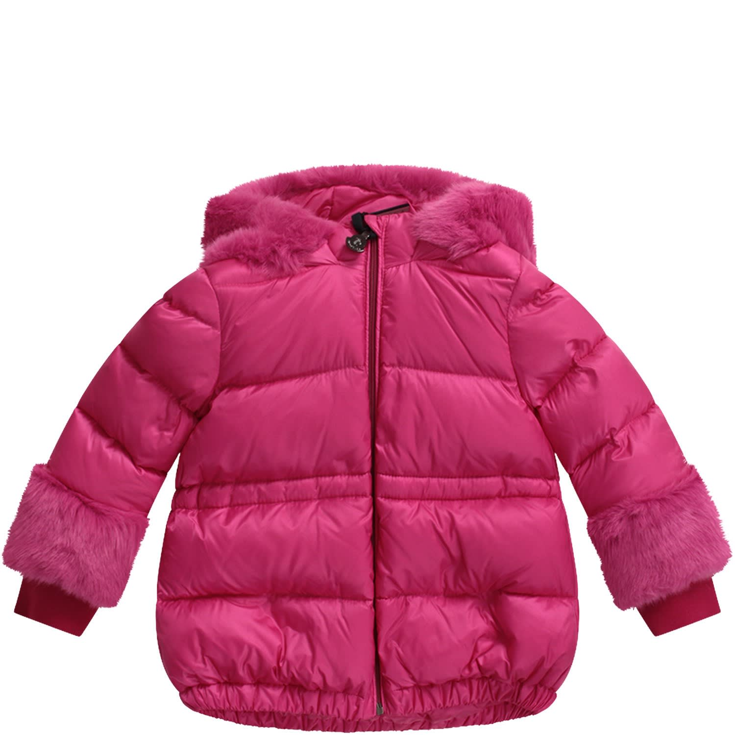 Best price on the market at italist   Moncler Moncler Fucshia Babygirl Jacket With Iconic Patch