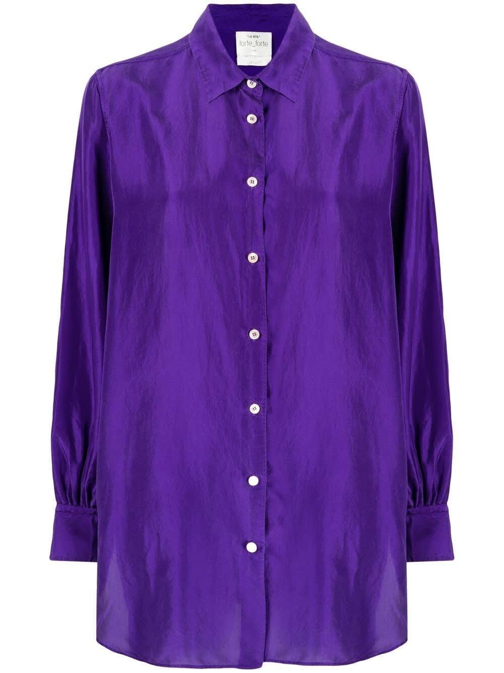 Forte Forte Clothing HABOTAI SHIRT IN PURPLE SILK