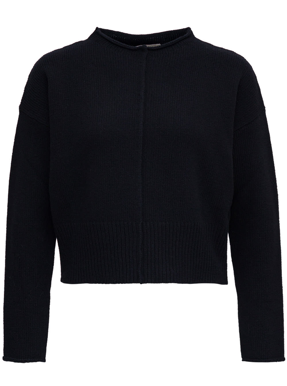 Black Wool Sweater With Boat Neck