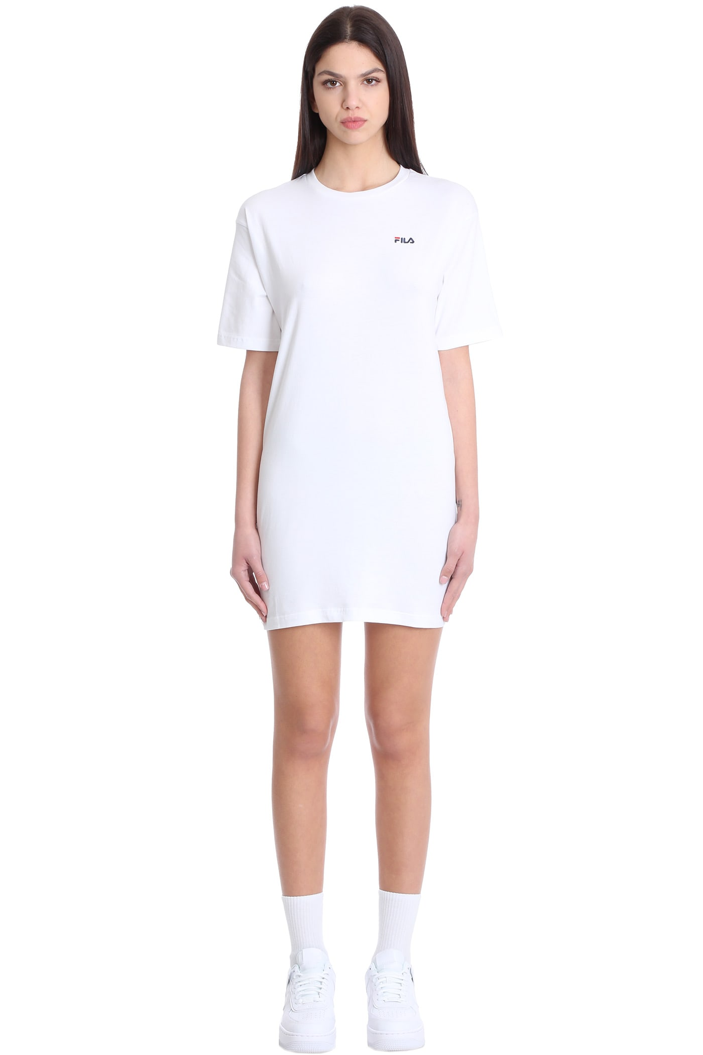 Buy Fila Elle Tee Dress In White Cotton online, shop Fila with free shipping