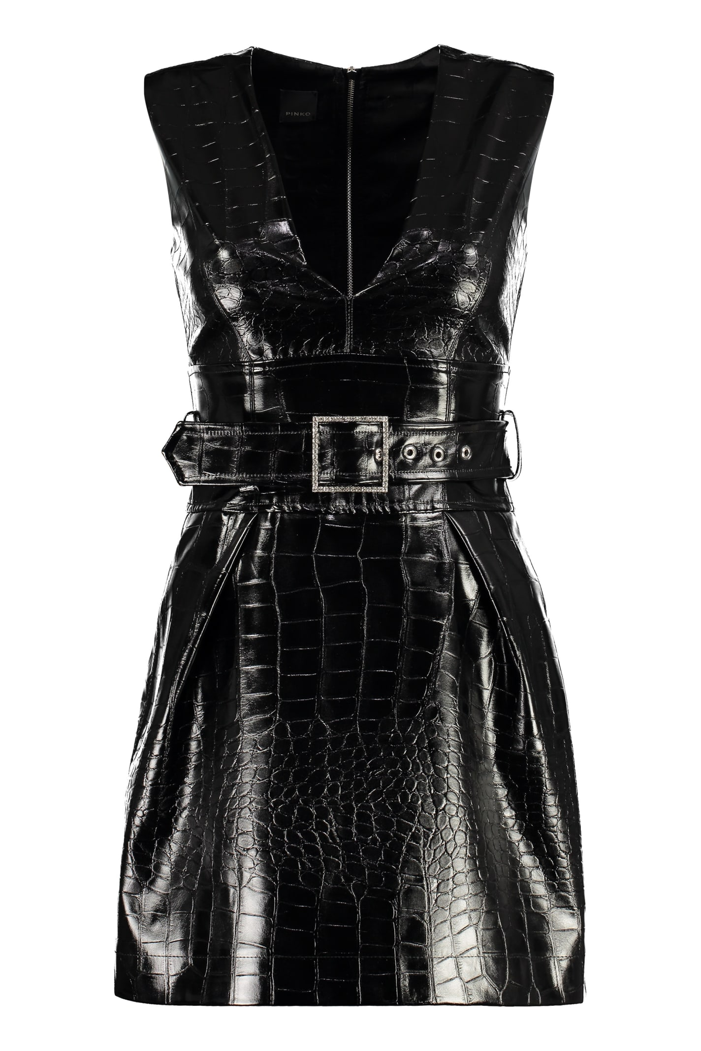 Pinko Somebody Crocodile Print Faux Leather Dress