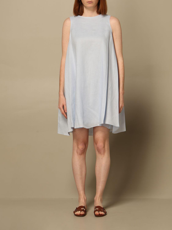 Buy Emporio Armani Dress Emporio Armani Short Dress In Linen online, shop Emporio Armani with free shipping