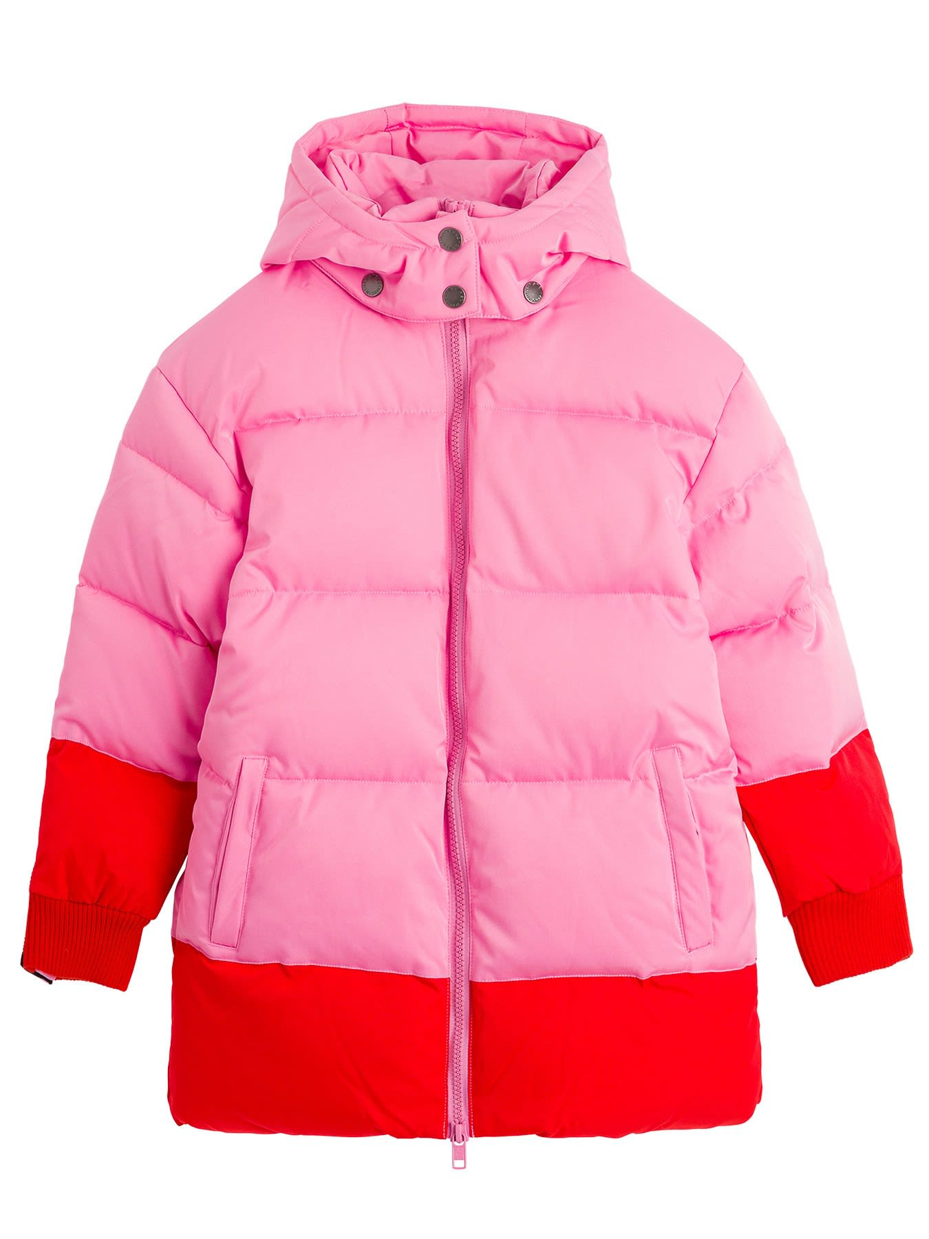 Stella Mccartney Downs COLOR BLOCK DOWN JACKET WITH LOGO TAPING