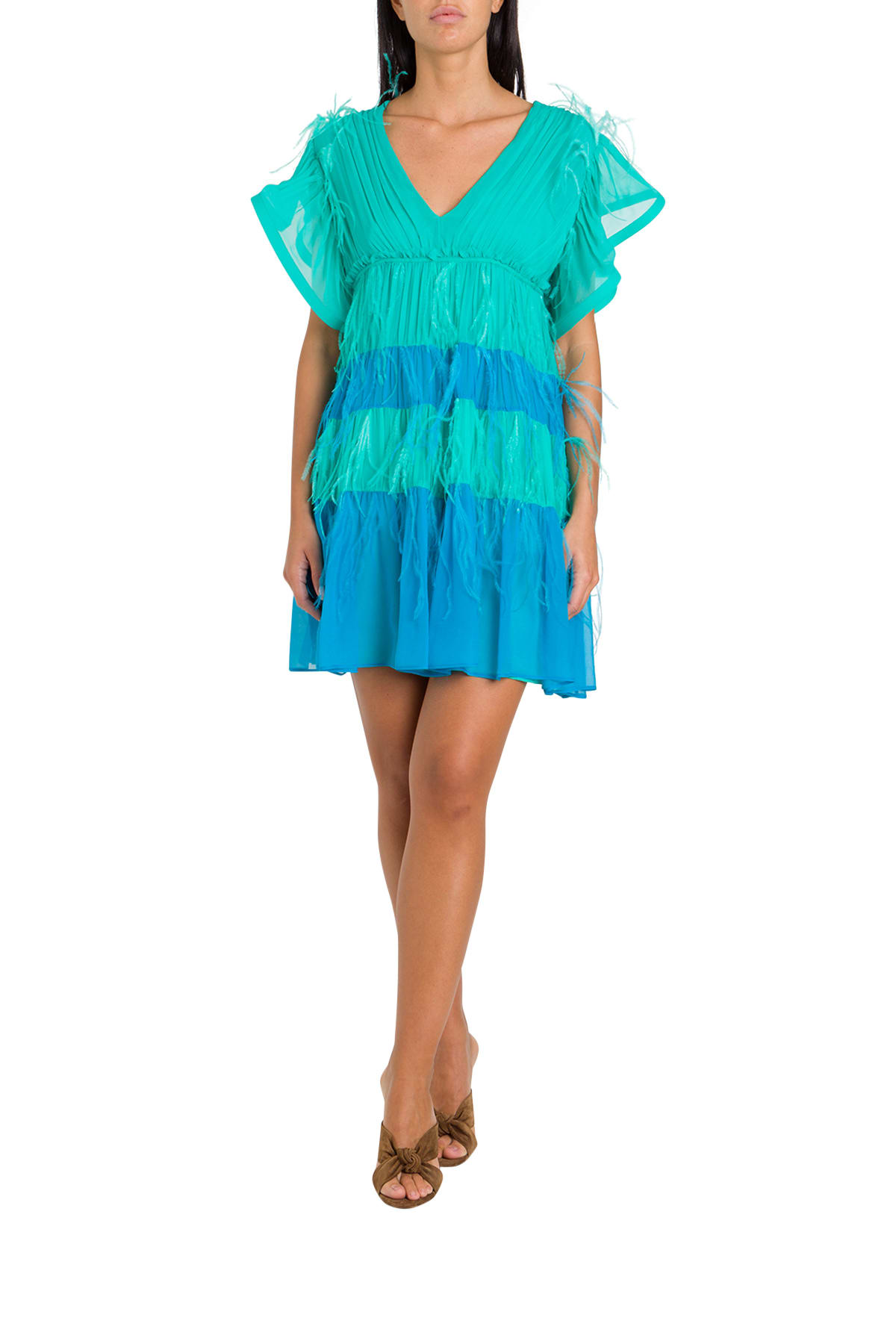 Buy Alberta Ferretti Color Block Mini Dress With Feathers online, shop Alberta Ferretti with free shipping