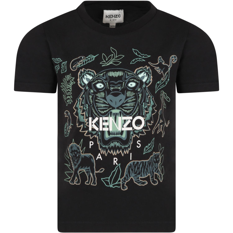 Black T-shirt For Boy With Chameleons
