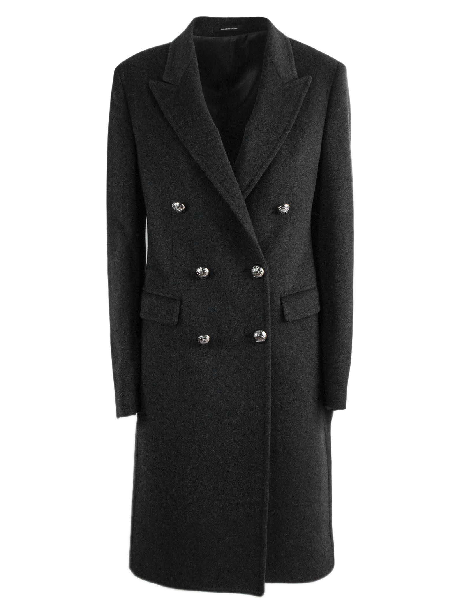 Tagliatore Wools BLACK CASHMERE LONG COAT