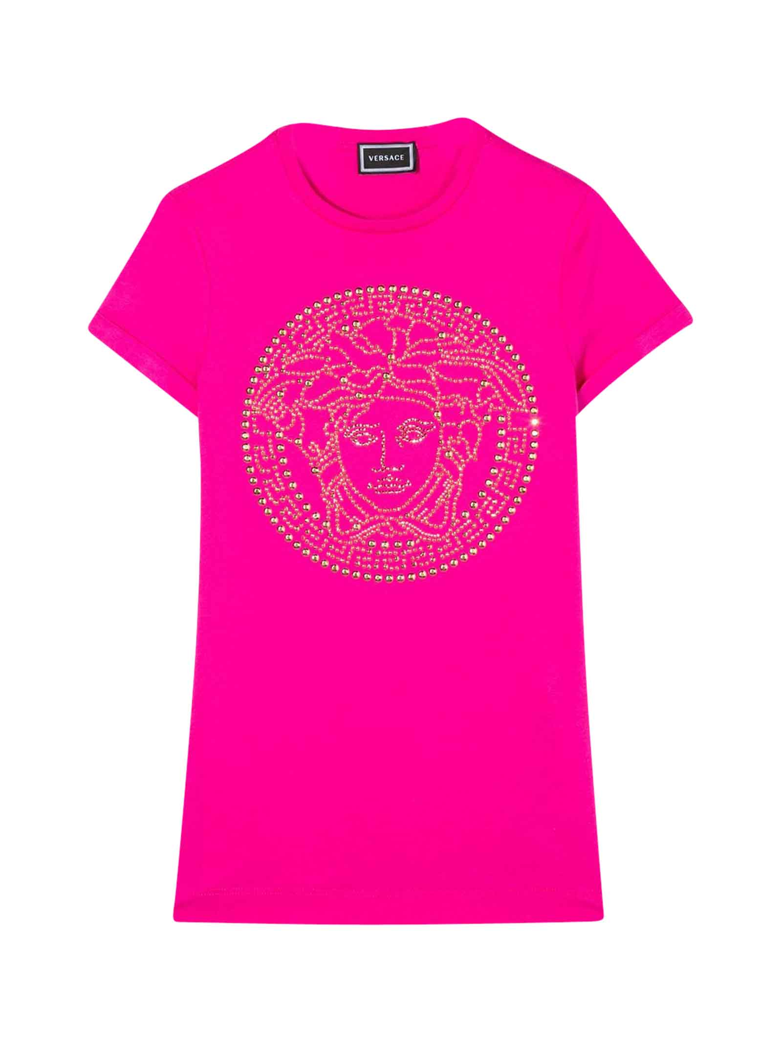 Buy Young Versace Teen Fuchsia Dress With Frontal Logo online, shop Young Versace with free shipping