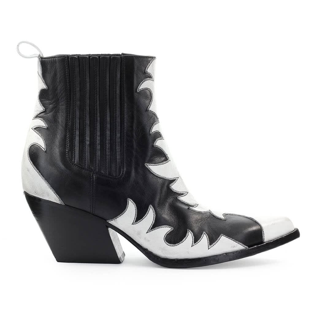 Black White Leather Texan Ankle Boot