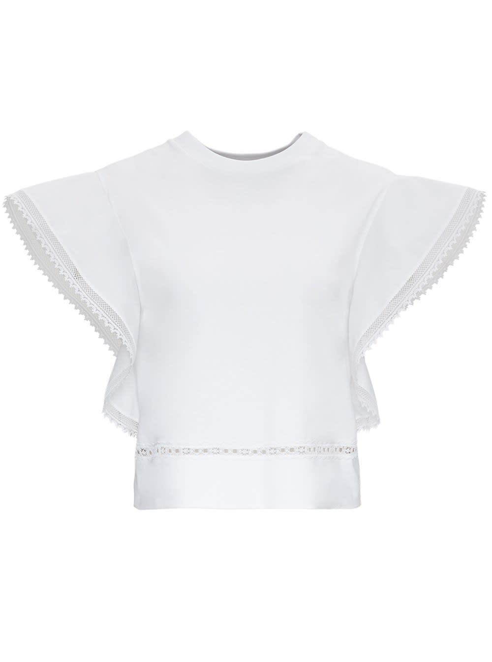 Alberta Ferretti White Jersey Top With Lace Inserts