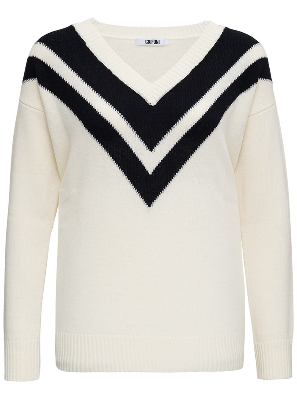 Bicolor Wool V-neck Sweater