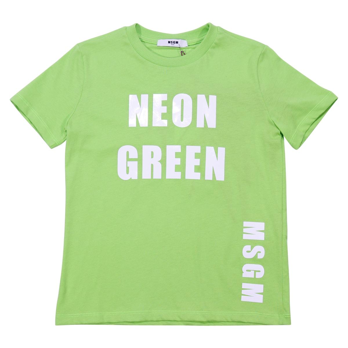 beau look en présentant magasin officiel Best price on the market at italist   MSGM MSGM Fluo Green Cotton Jersey  T-shirt