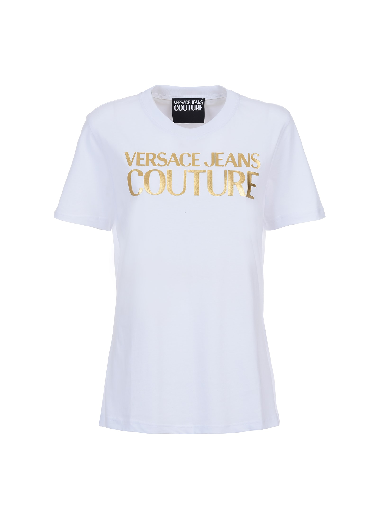 Versace Jeans Couture White T-shirt With Gold Logo In 003 + 948