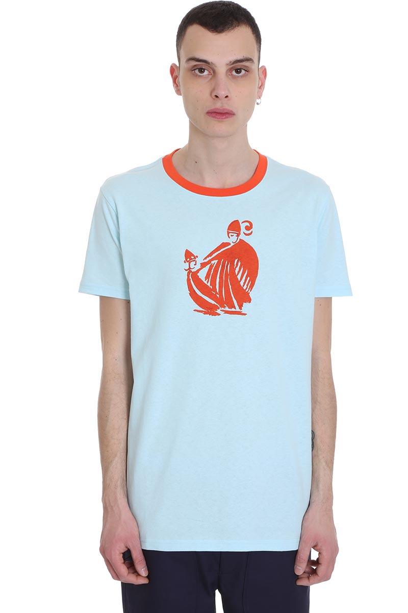 Lanvin T-shirt In Cyan Cotton