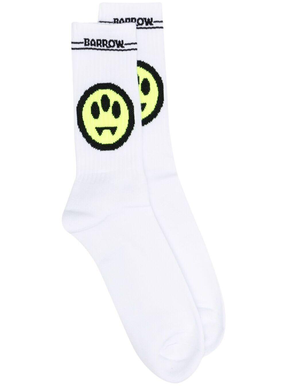 Barrow White Cotton Socks With Logo
