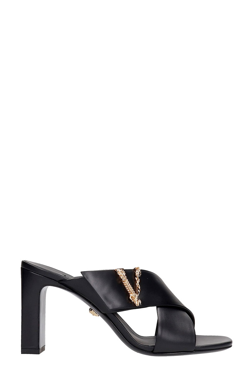 Versace SANDALS IN BLACK LEATHER