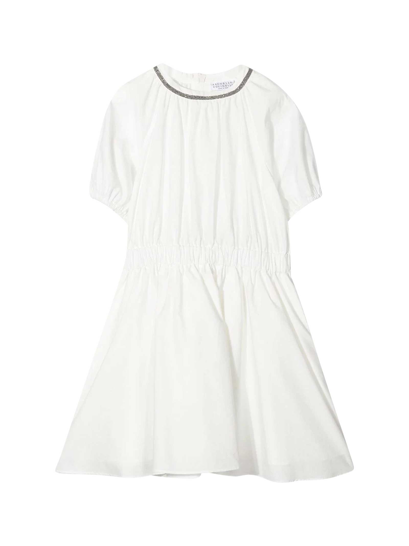 Brunello Cucinelli Cottons WHITE TEEN DRESS